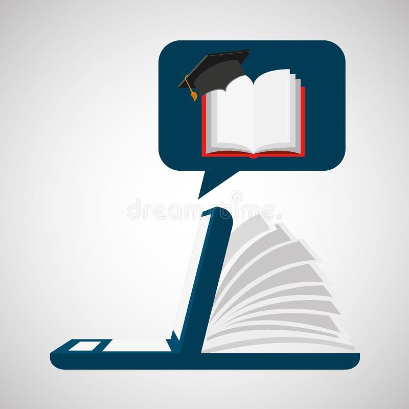Онлайн уча открытое образование градации крышки книги иллюстрация штока