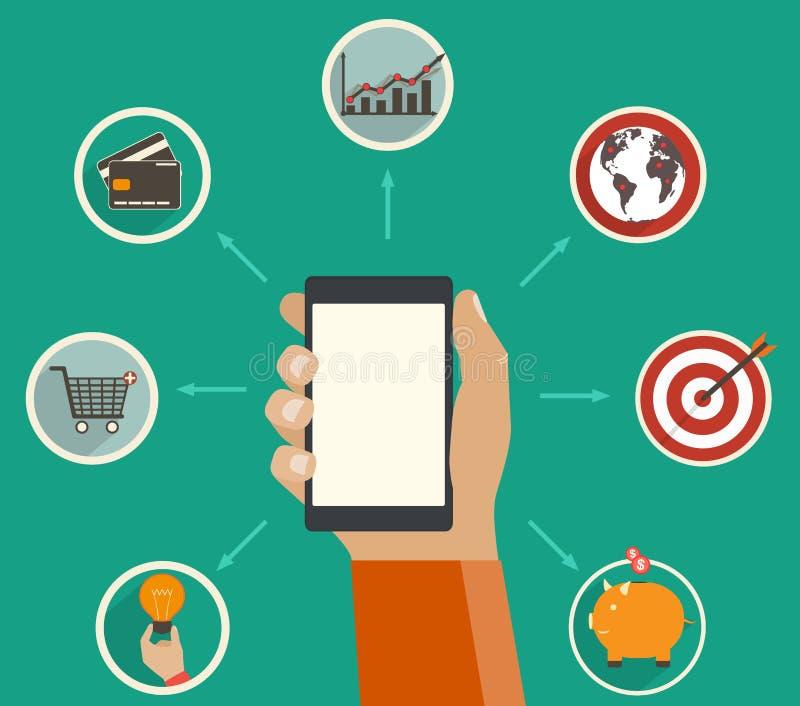 Онлайн финансы app, финансовый аналитик отслеживая на цифровой прибор иллюстрация штока