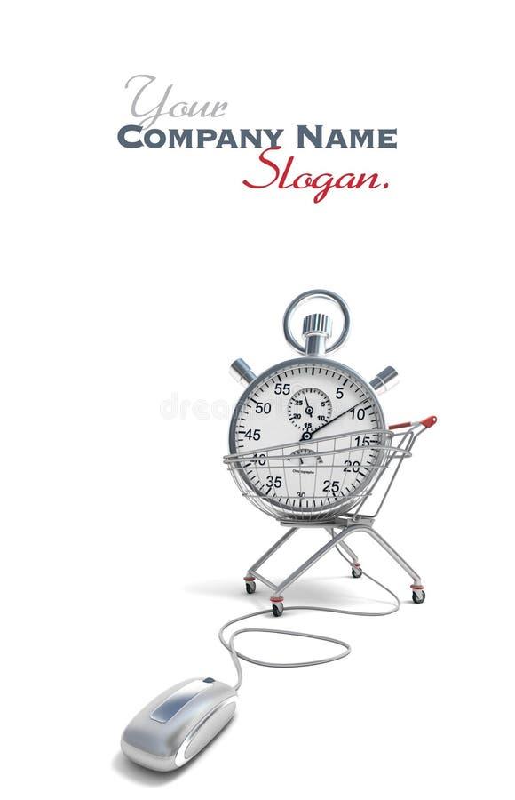 Онлайн экономящий время покупок иллюстрация вектора