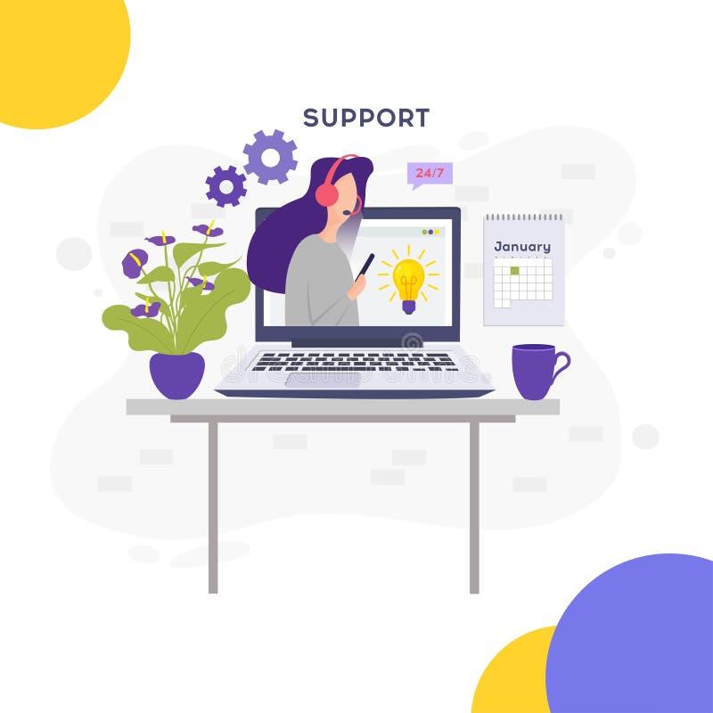 он-лайн принципиальная схема поддержки Онлайн глобальная служба технической поддержки 24 7 иллюстрация штока