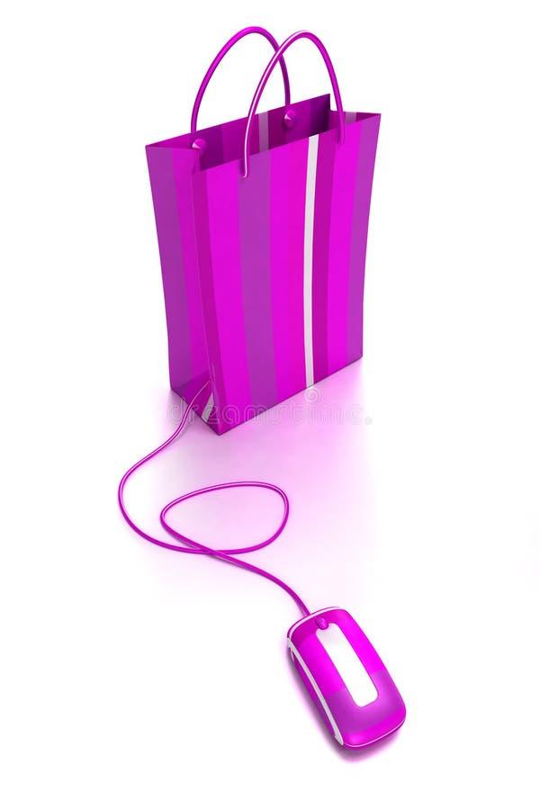 он-лайн пурпуровая покупка иллюстрация вектора