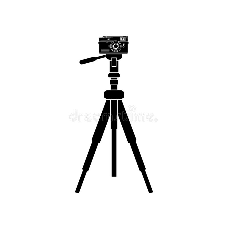 Он чернит значок тренога с камерой бесплатная иллюстрация