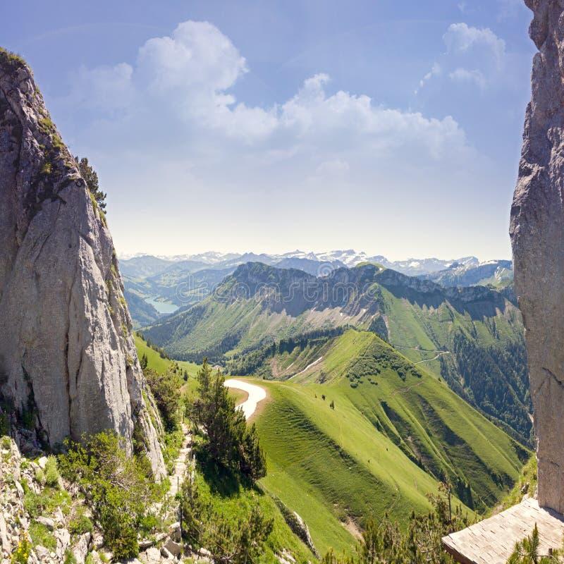 Он Rochers de Naye гора швейцарских Альпов, обозревая женевское озеро стоковые фото