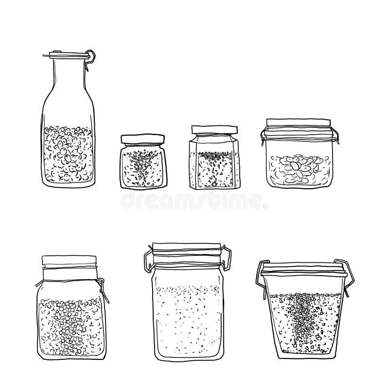 Опарникы, бутылки специй вручают вычерченной линии искусству милую иллюстрацию иллюстрация штока