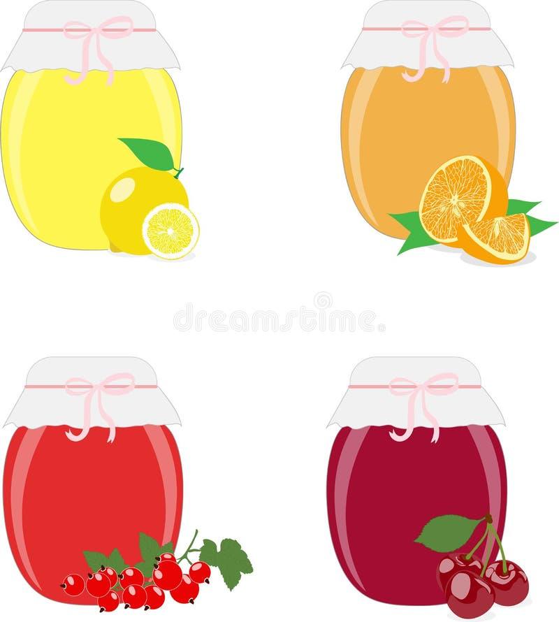 Опарникы, лимоны, апельсины, смородины и вишни варенья на белой предпосылке, иллюстрация вектора иллюстрация вектора