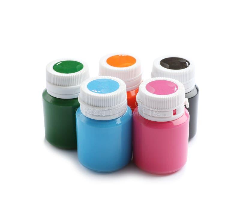 Опарникы с красочными красками на белой предпосылке стоковая фотография