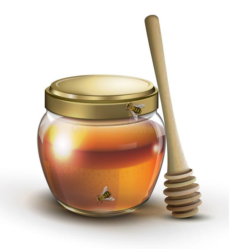 Опарник меда и изолированная ручка меда бесплатная иллюстрация