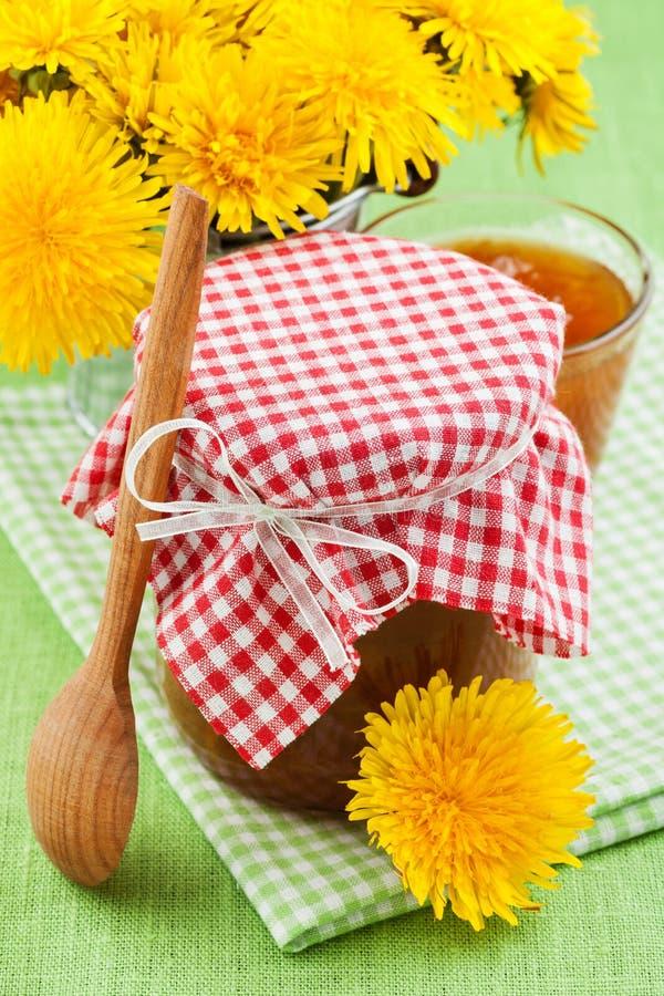 Опарник цветков варенья и blowball одуванчика стоковые изображения rf