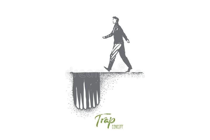 Опасная метафора пути, человек двигая к дырочной ловушке с острыми шипами иллюстрация штока