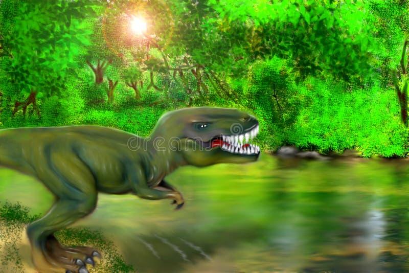 Опасное T-Rex около реки бесплатная иллюстрация