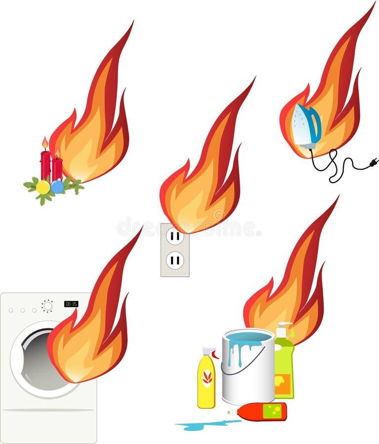 Опасности пожара вокруг вашего дома иллюстрация штока