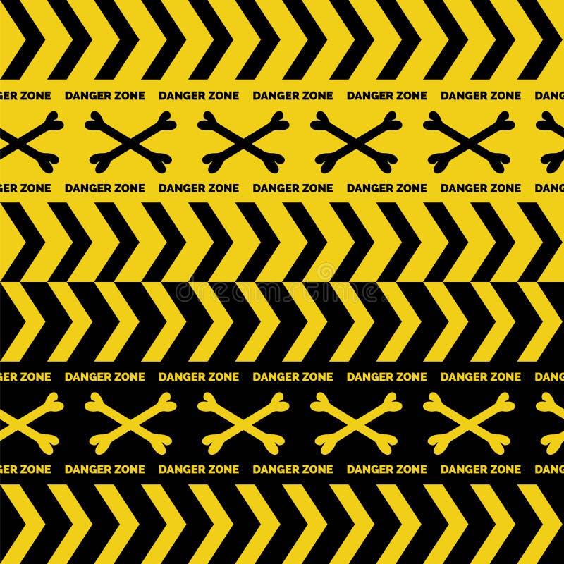 Опасность связывает безшовные границы тесьмой иллюстрация штока