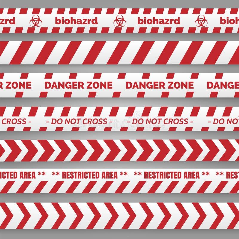 Опасность связывает красное и белое собрание тесьмой бесплатная иллюстрация