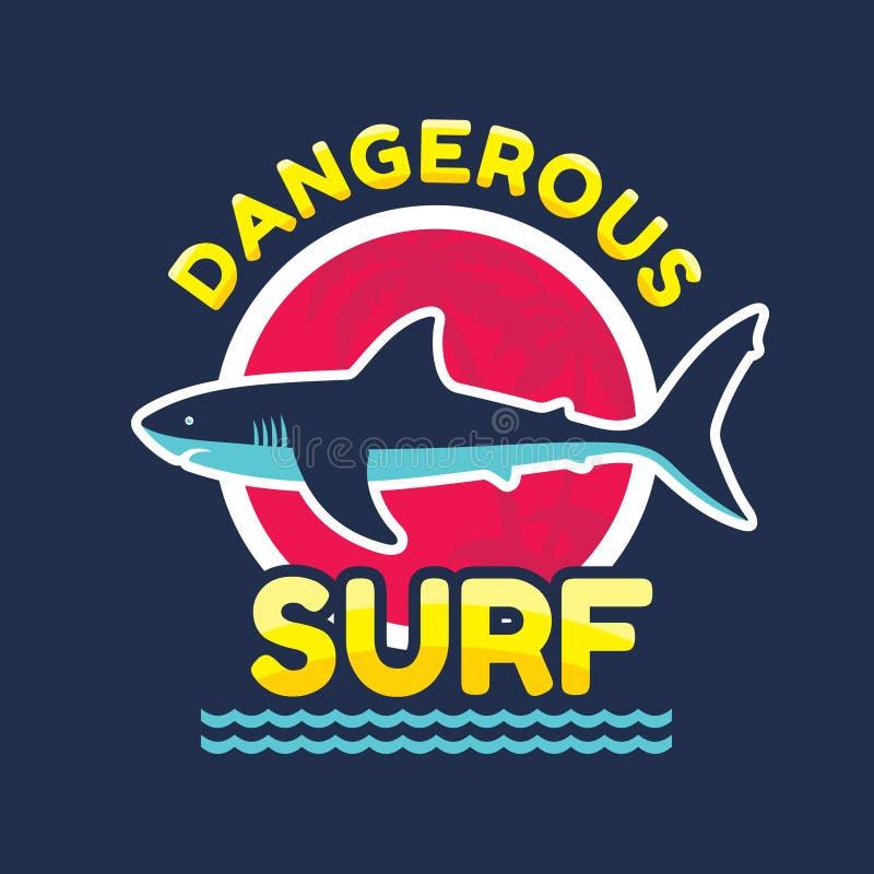 Опасный прибой - vector значок логотипа для футболки и другого продукция печати Иллюстрация вектора акулы иллюстрация штока