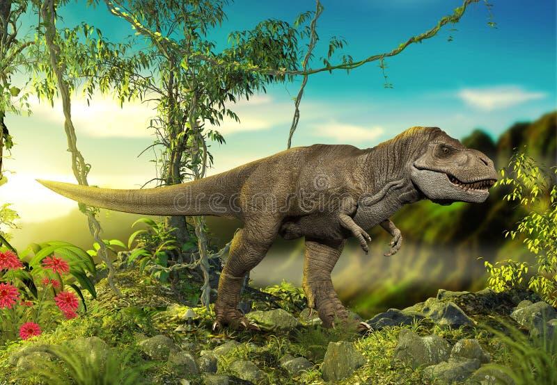 Опасный тиранозавр Rex хищника доисторическое иллюстрация вектора