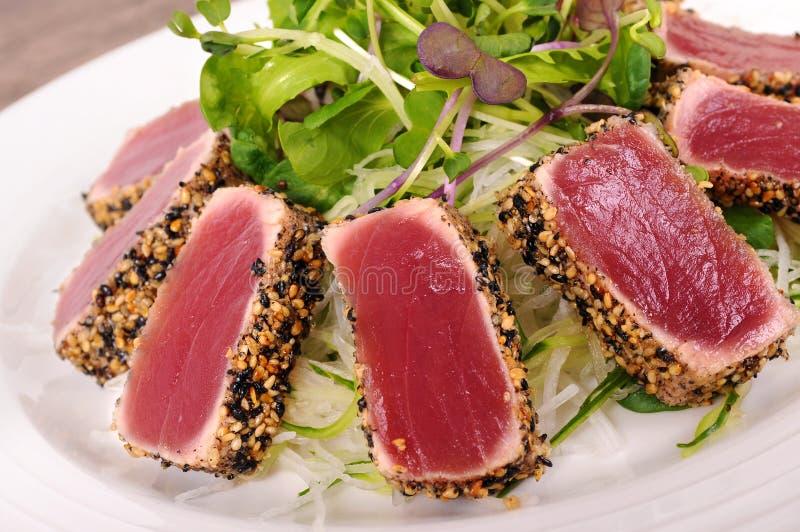 Опаленный крупный план салата тунца стоковое фото rf