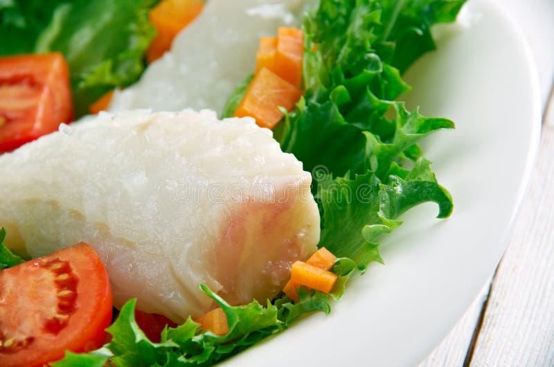 Опаленный салат трески стоковые фотографии rf