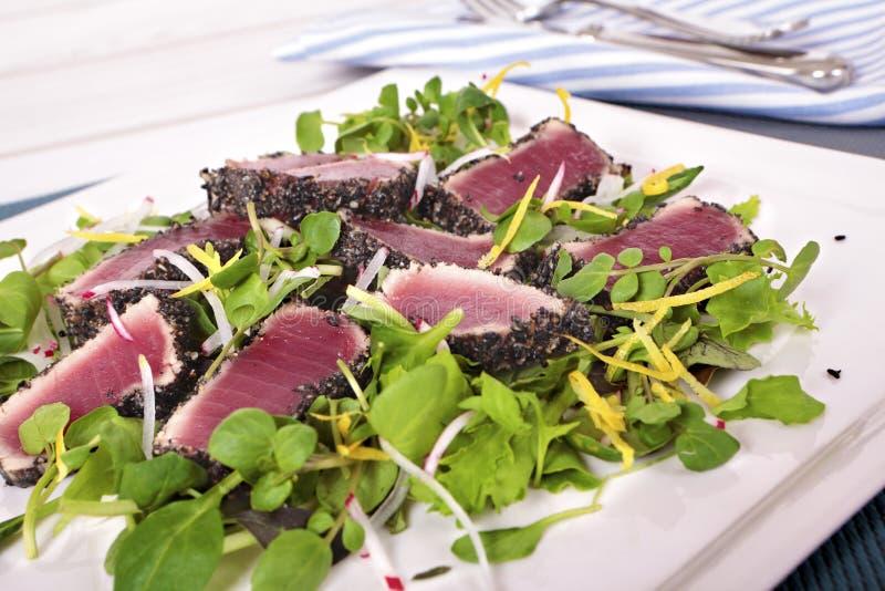 Опаленный салат тунца стоковое изображение rf