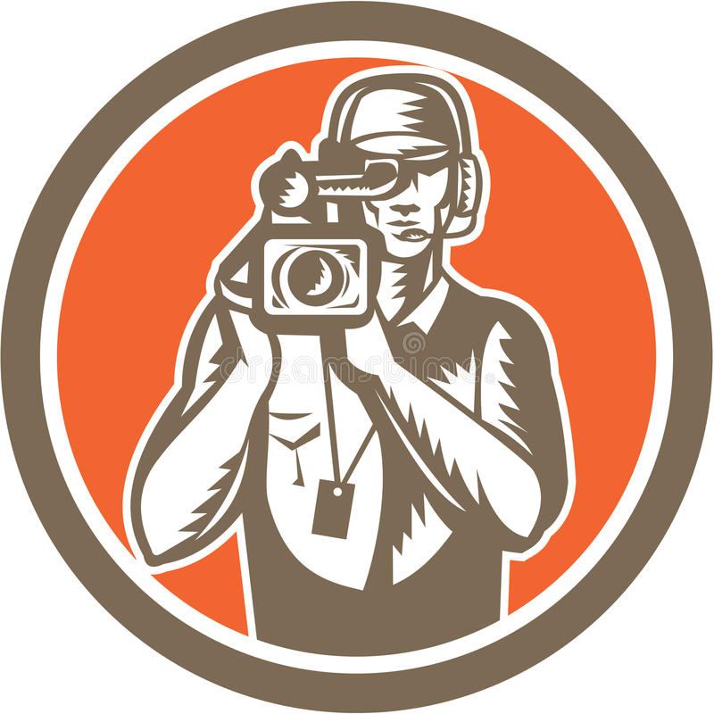 Оператор держа круг видеокамеры кино бесплатная иллюстрация