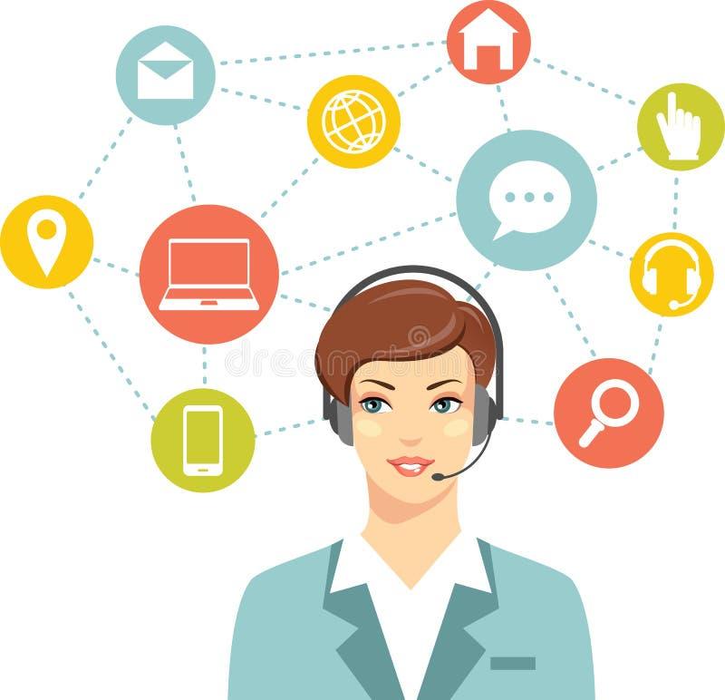 Оператор женщины работы с клиентом центра телефонного обслуживания онлайн иллюстрация штока