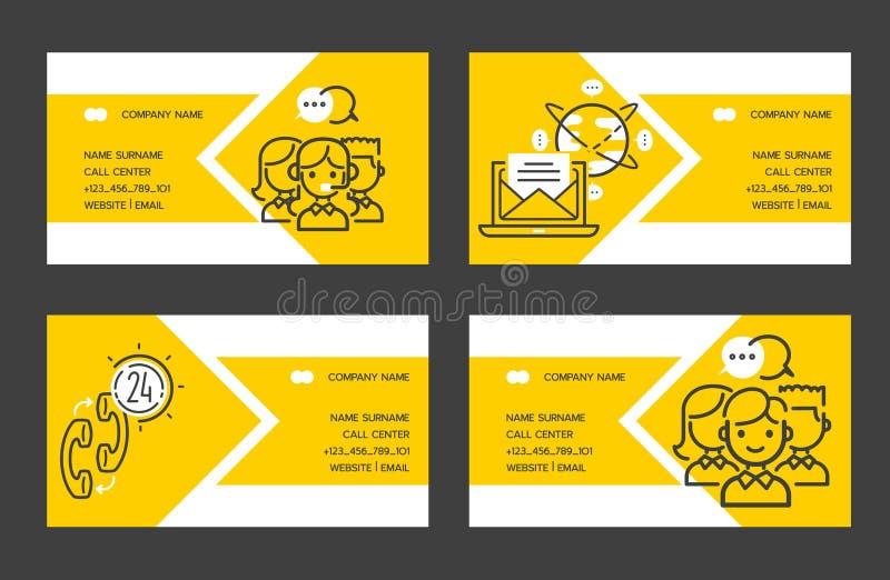 Оператор людей визитной карточки вектора центра телефонного обслужив иллюстрация вектора