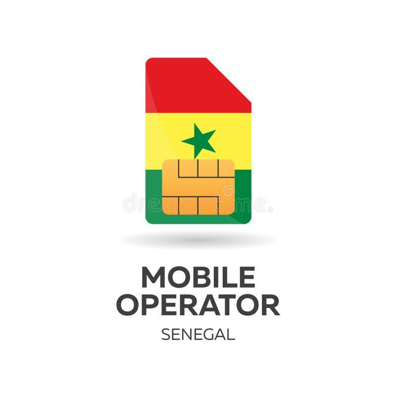 Оператор мобильной связи Сенегала Карточка SIM с флагом также вектор иллюстрации притяжки corel иллюстрация штока