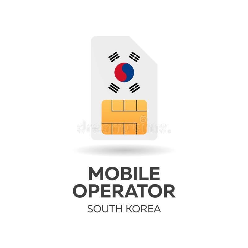 Оператор мобильной связи Южной Кореи Карточка SIM с флагом также вектор иллюстрации притяжки corel бесплатная иллюстрация