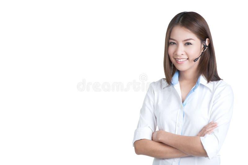 Оператор обслуживания клиента женщины центра телефонного обслуживания стоковое изображение rf