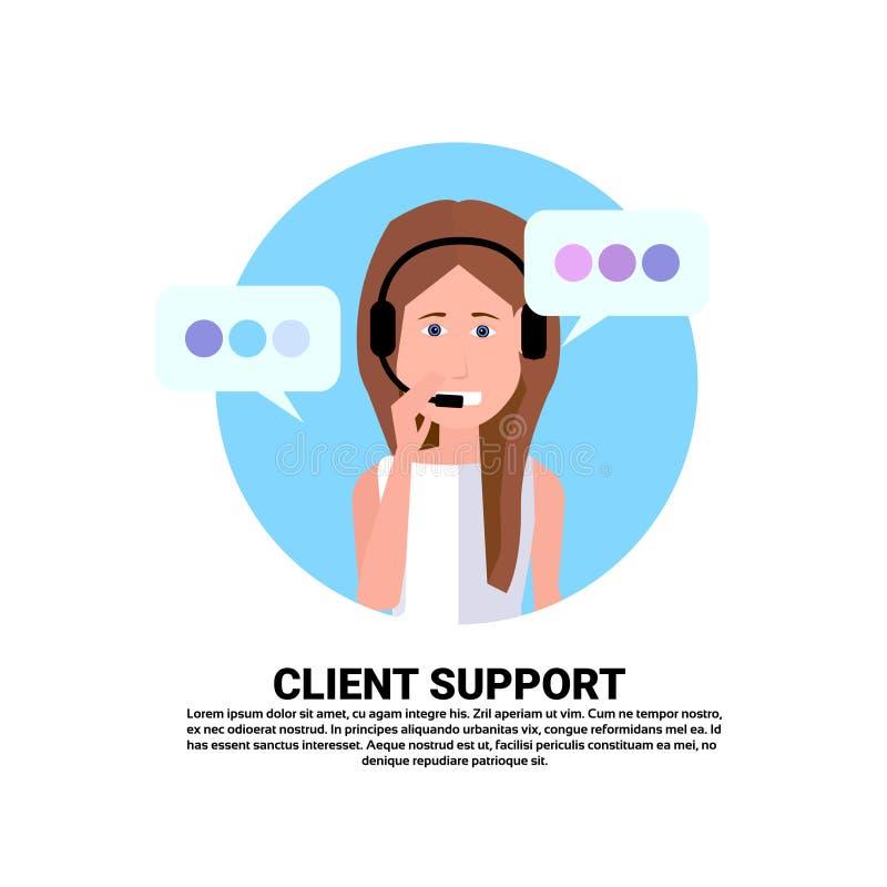 Оператор поддержки клиента женщины агента шлемофона центра телефонного обслуживания онлайн, клиент и значок технического обслужив бесплатная иллюстрация