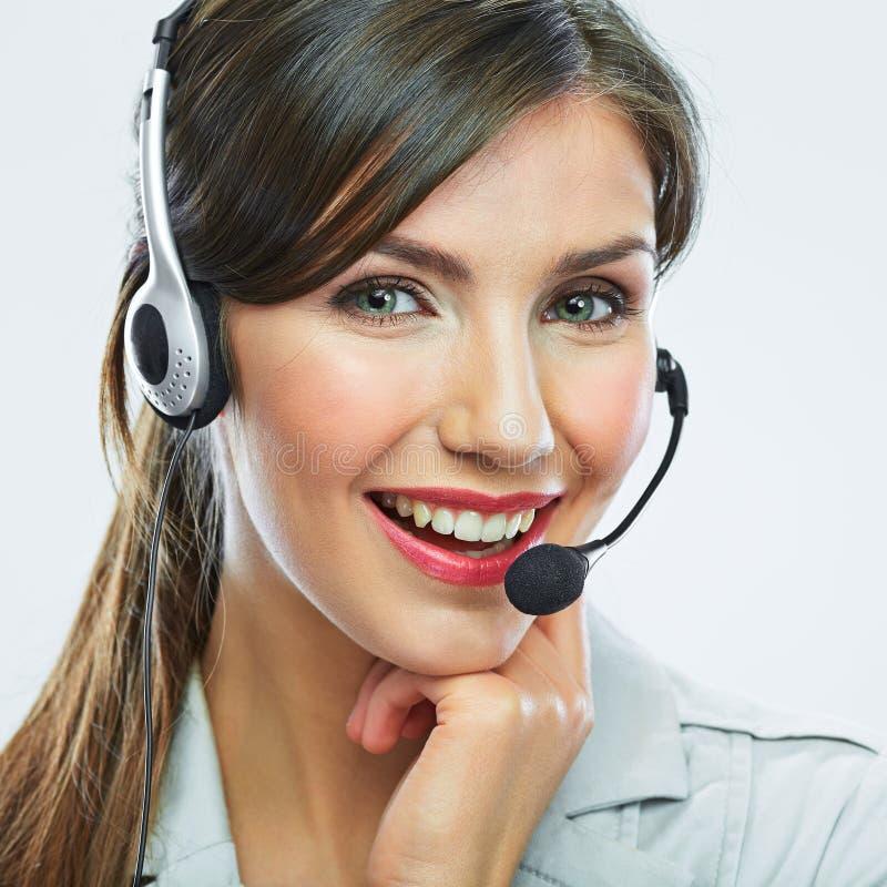 Оператор работы с клиентом женщина сети шаблона страницы приветствию стороны карточки предпосылки всеобщая Опера центра телефонно стоковая фотография