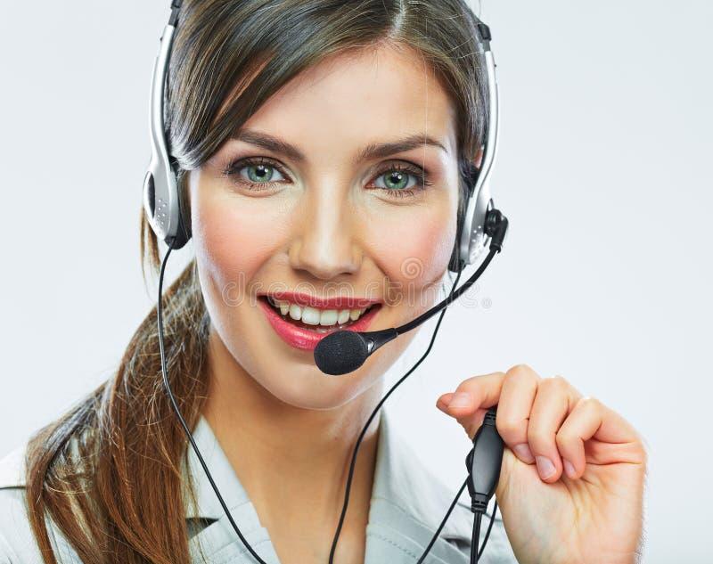 Оператор работы с клиентом женщина сети шаблона страницы приветствию стороны карточки предпосылки всеобщая Опера центра телефонно стоковые изображения rf