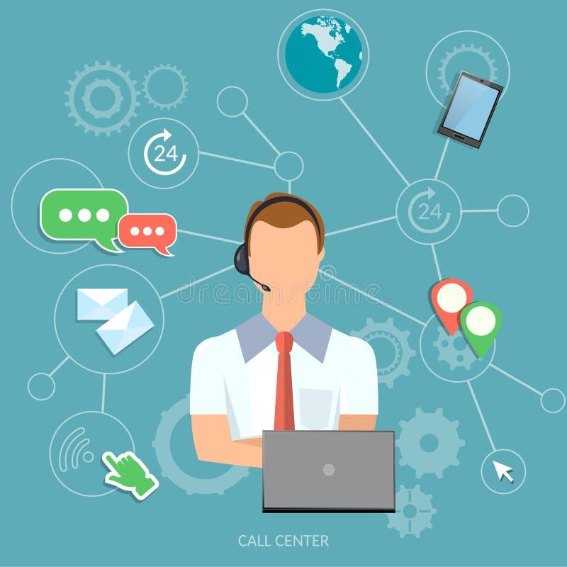 Оператор службы технической поддержки человека центра телефонного обслуживания иллюстрация вектора
