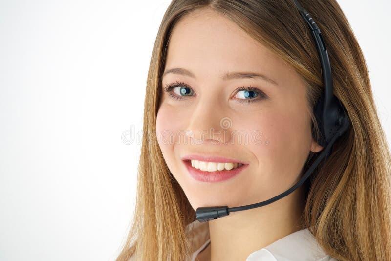 Оператор телефона женщины стоковое изображение