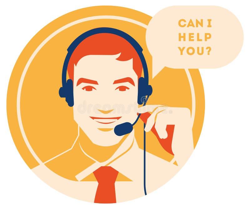 Оператор центра телефонного обслуживания с значком шлемофона Обслуживания клиента и сообщение, работа с клиентом, помощь телефона иллюстрация штока