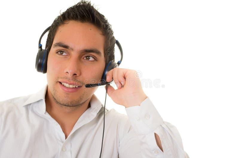 Оператор центра телефонного обслуживания мужской изолированный на белизне стоковые фотографии rf