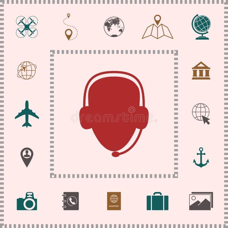 оператор шлемофона Значок центра телефонного обслуживания иконы штольни элементов конструкции больше моих pictograms пожалуйста с иллюстрация штока
