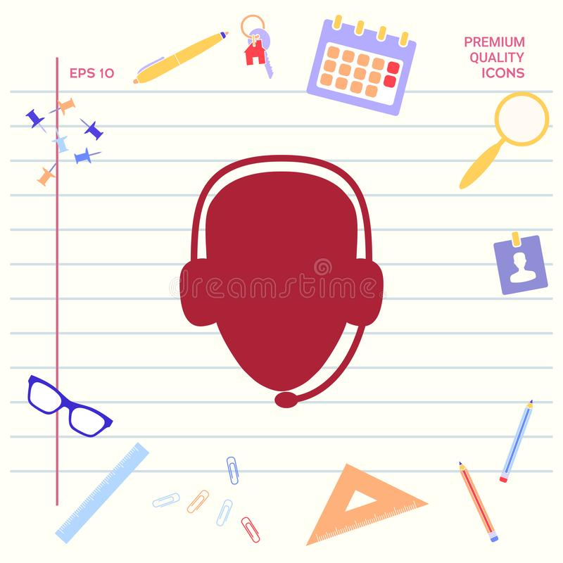 оператор шлемофона Значок центра телефонного обслуживания Графические элементы для вашего дизайна бесплатная иллюстрация