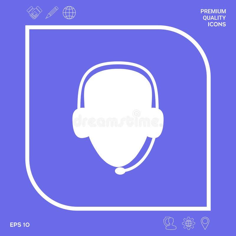 оператор шлемофона Значок центра телефонного обслуживания Графические элементы для вашего дизайна иллюстрация вектора