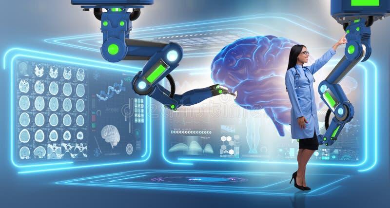 Операции на головном мозге сделанные робототехнической рукой иллюстрация вектора
