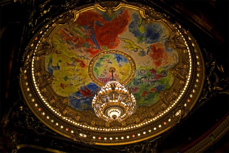Опера национальный de Париж интерьера оперы Парижа aka aka Palais Garnier в Париже, Франции, стоковые изображения rf