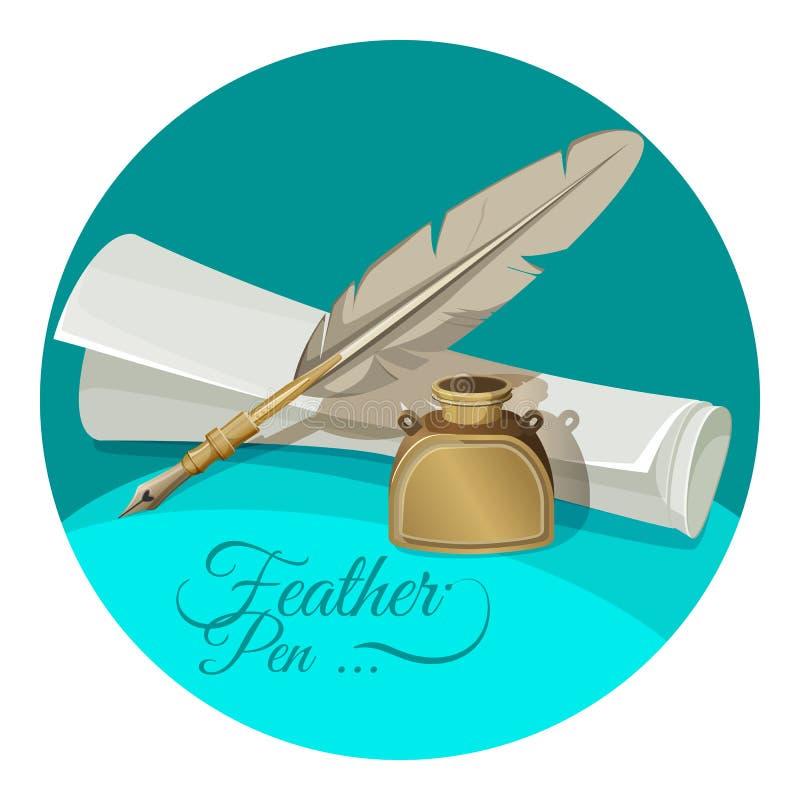 Оперитесь ручка и чернильница около бумажной иллюстрации вектора рукописи иллюстрация штока