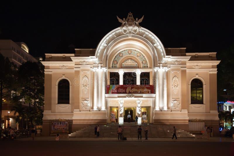 Оперный театр Сайгона к ноча стоковые фотографии rf