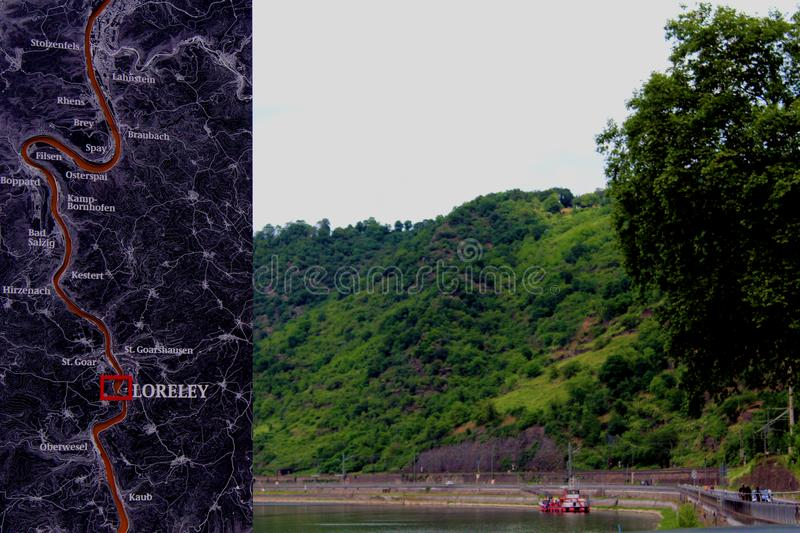 Описание места lorelei стоковая фотография rf