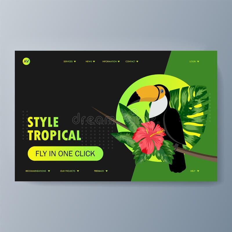 Описание птицы toucan и среды обитания иллюстрация вектора