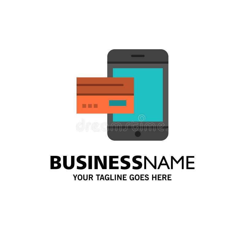 Оплата, банк, банк, карта, кредит, чернь, деньги, шаблон логотипа дела смартфона r иллюстрация вектора