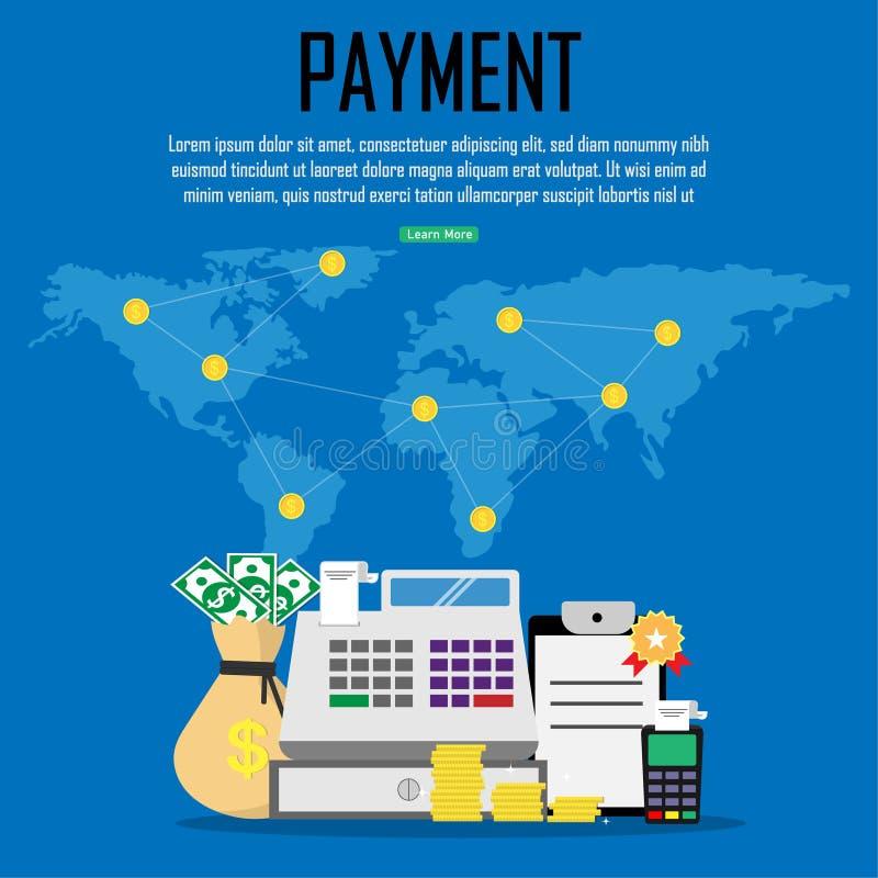Оплата в пределах мира Финансовый, онлайн-банкинги, сохраняя деньги также вектор иллюстрации притяжки corel иллюстрация штока