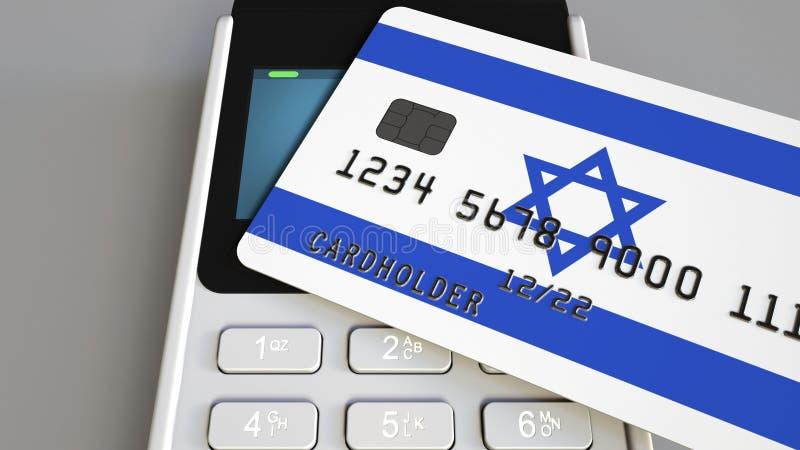 Оплата или стержень POS при кредитная карточка отличая флагом Израиля Израильские розничные коммерция или банковская система схем стоковое изображение