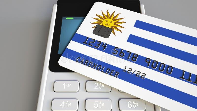 Оплата или стержень POS при кредитная карточка отличая флагом Уругвая Коммерция или банковская система уругвайца розничные стоковое фото