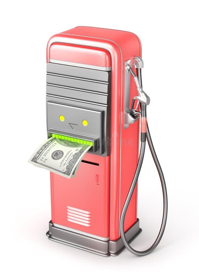 Оплата к бензину Бензоколонка с стержнем оплаты иллюстрация штока