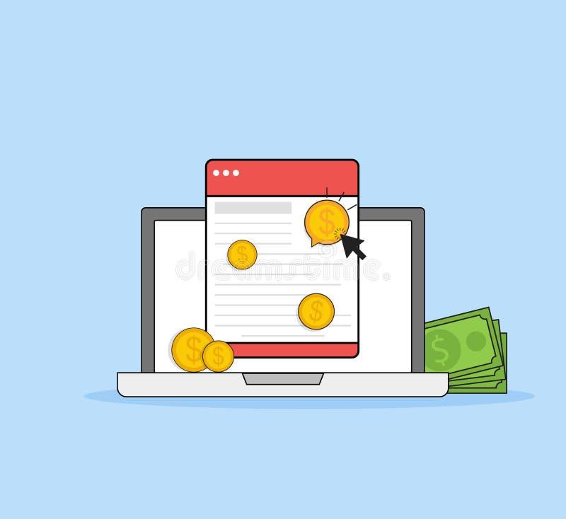 Оплата согласно с щелчок, маркетинг интернета Плоская линия концепция стиля искусства Знамя вектора, значок, иллюстрация бесплатная иллюстрация